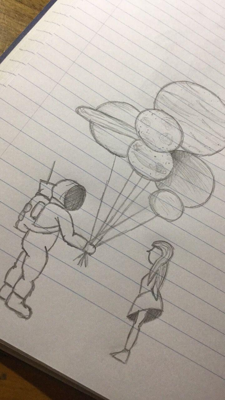 Astronauta enamorado dibujos mar a ideias esbo o for Disegni facili da disegnare