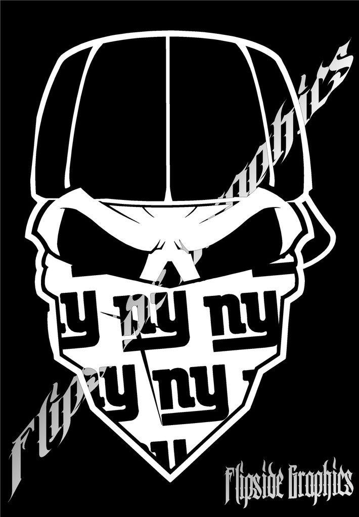 New York Giants Custom Bandana Skull Windows Cars Trucks