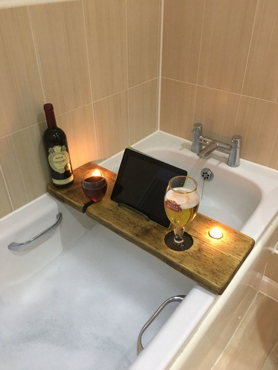 Bath Caddy - Bath Tray - Bath Shelf - Bath Rack - Bath Wine Glass ...