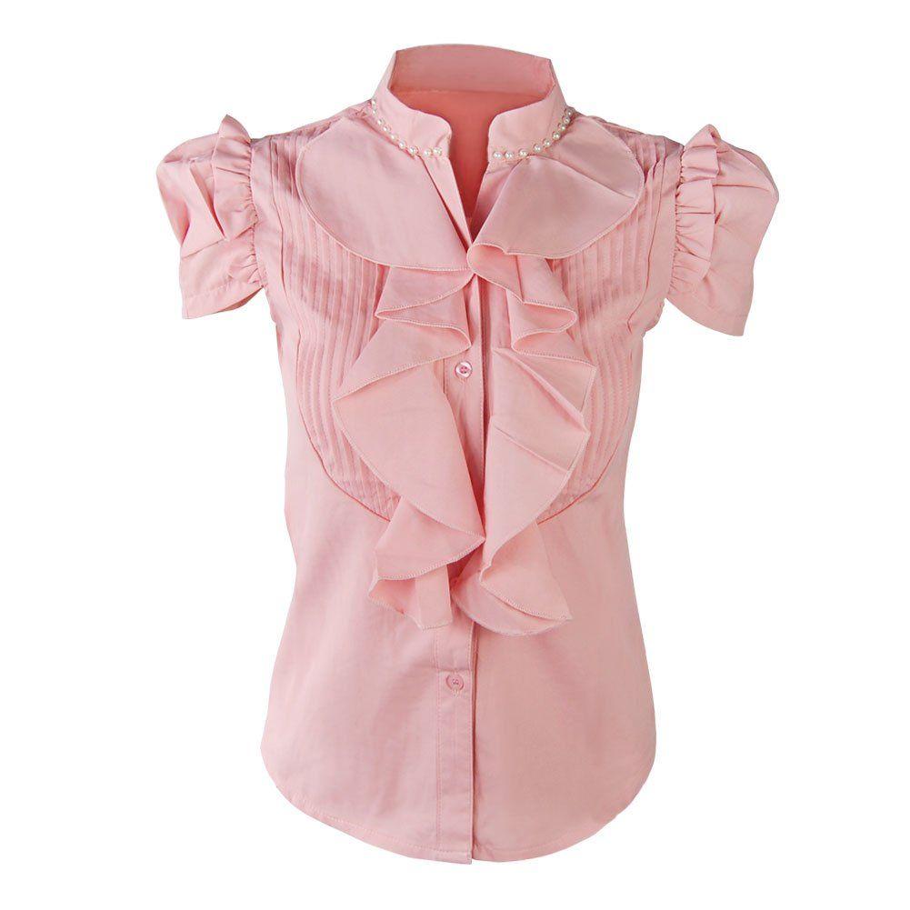 White ruffle apron amazon - Funoc Womens Ladies Short Sleeve Business Ol Ruffle Stand Collar Shirt Blouse Top At Amazon Women S