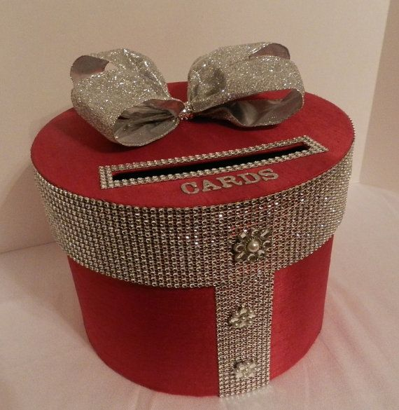 Wedding Card Box Red  Silver Bling Mesh Wrap   Bridal