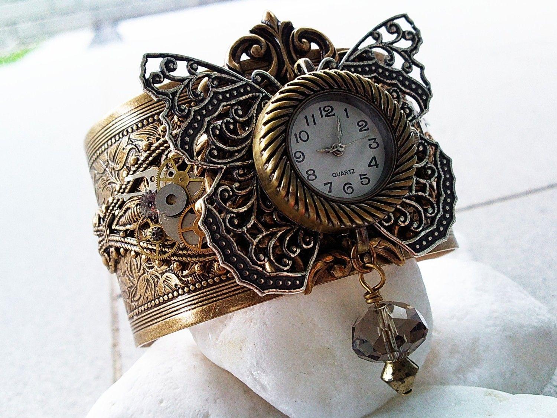 steampunk butterfly | Hypnos Steampunk Butterfly Watch Cuff - Aged brass filigree cuff ...