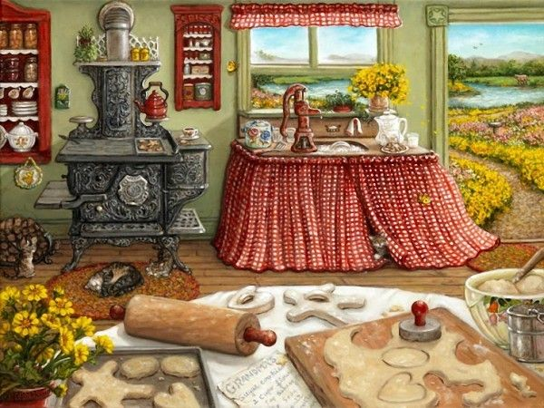 Решила продолжить тему, начатую ранее. Там мы любовались мишками Тедди в творчестве художницы Жанет Крускамп, а теперь посмотрим на другие ее работы, не менее отзывающиеся в нашем женском сердце, готовом расстрогаться от картин уютного домашнего быта. Может кто-то в своем творчестве найдет применение этому чудесному миру гармонии и тепла талантливой художницы.…