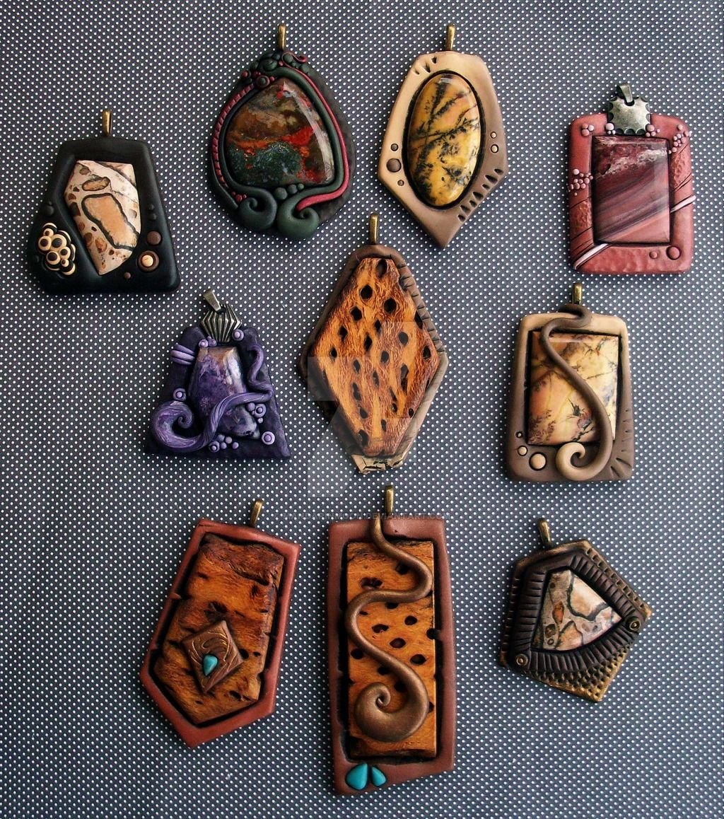 Pendants of polymer clay jasper and cholla wood by mandarinmoon pendants of polymer clay jasper and cholla wood aloadofball Choice Image