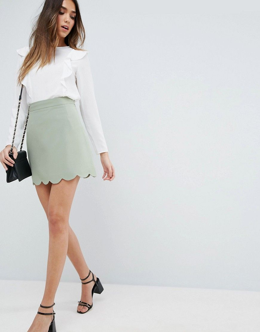 454da39ef6 Tailored A-Line Mini Skirt with Scallop Hem in 2019   Products ...