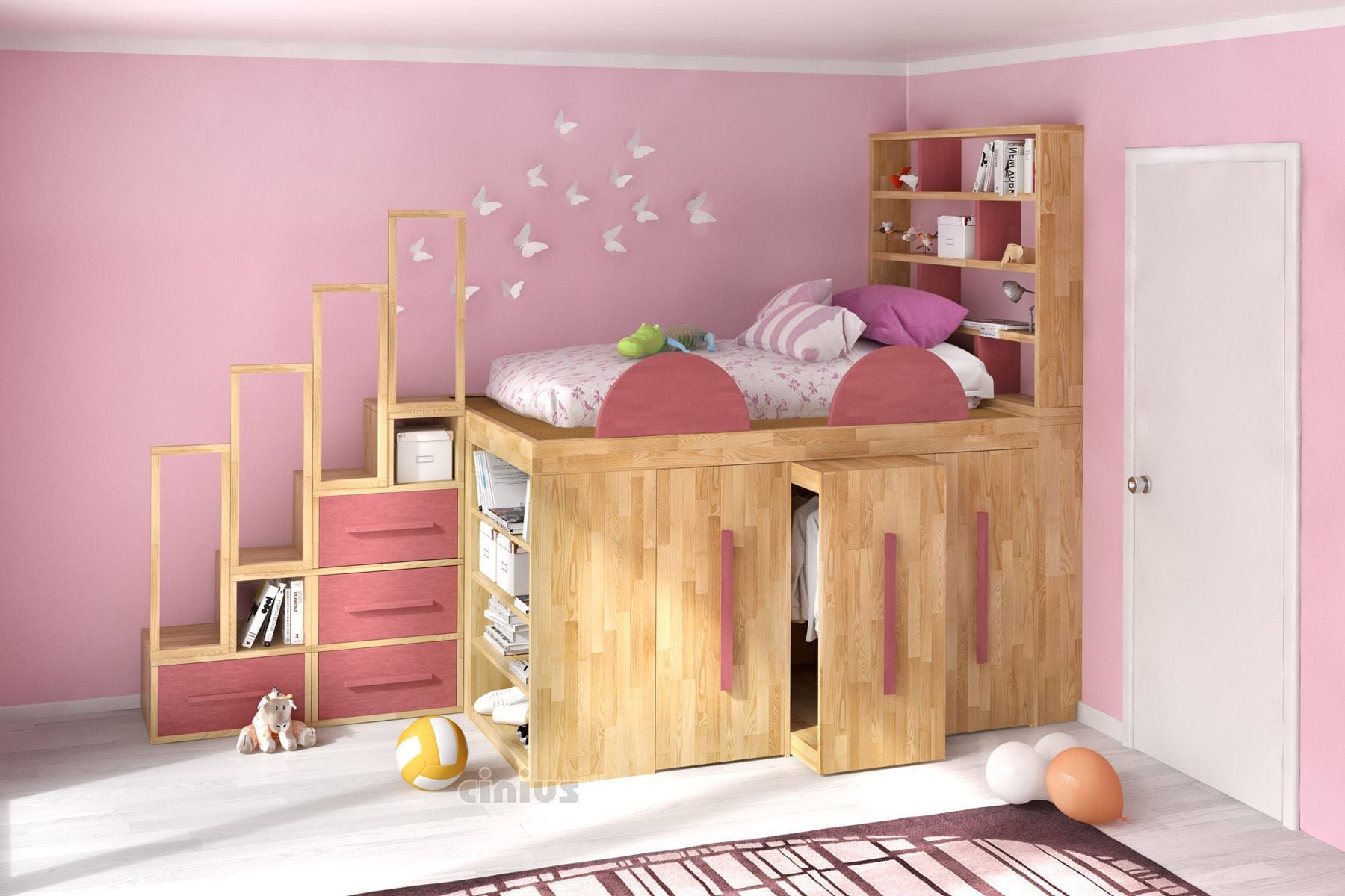 Loft bed / double / contemporary / wooden LETTO A
