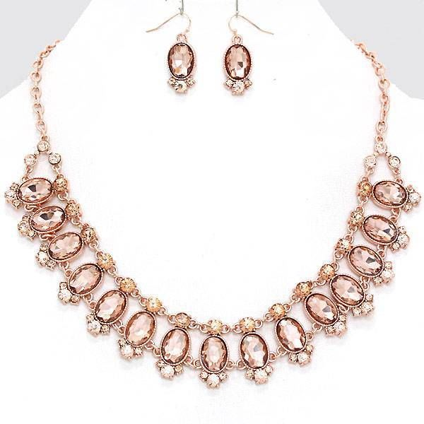 Chunky Pink Bead Rose Gold Chain Earring Necklace Set Fashion