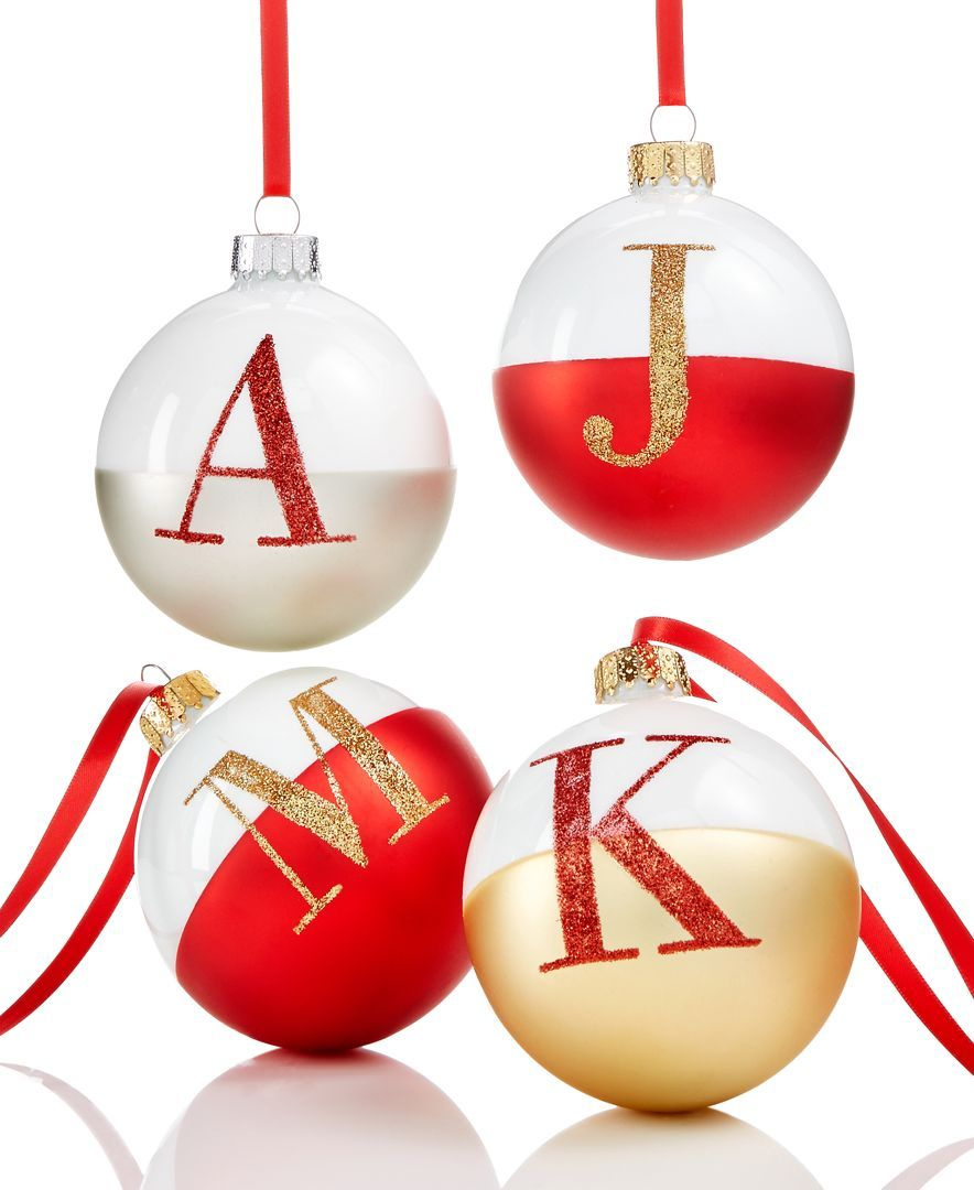 Holiday Lane Glass Initial Ball Ornaments, Created for Macy\'s ...