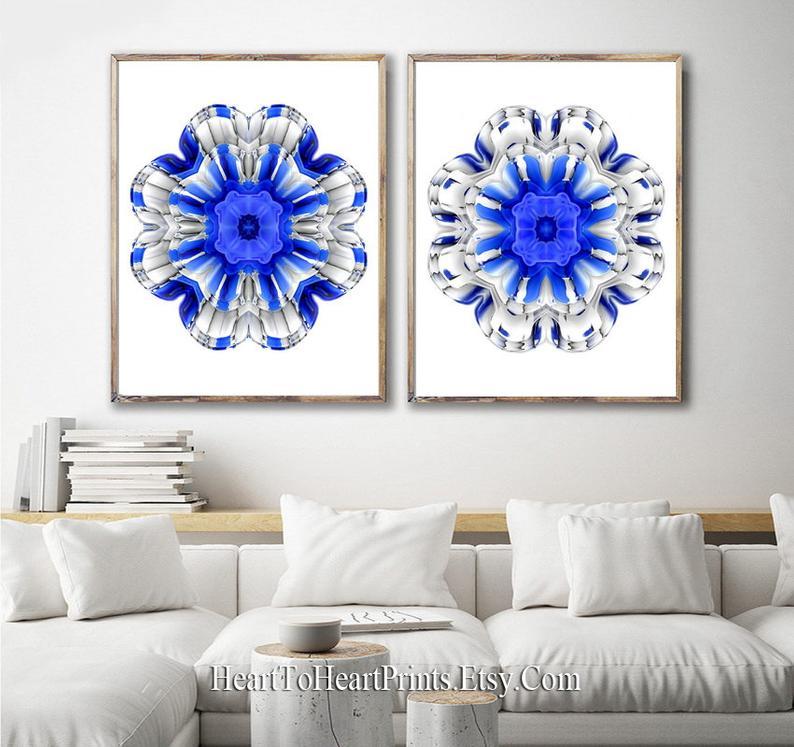 Blue Flower Wall Art Downloadable Floral Print Royal Blue Etsy Flower Wall Art Boho Wall Art Floral Prints Art