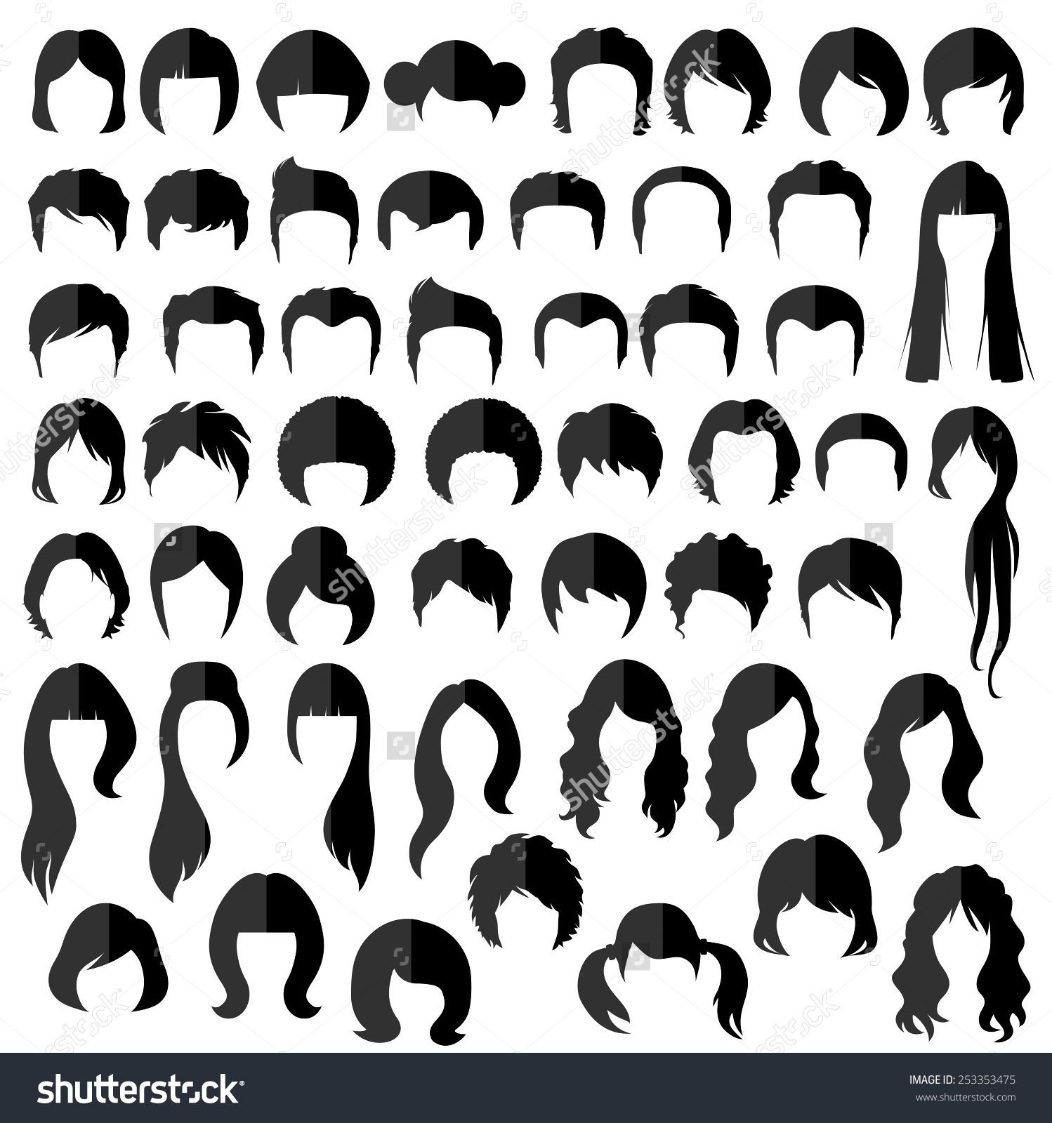 Woman Man Hair Vector Hairstyle Silhouette