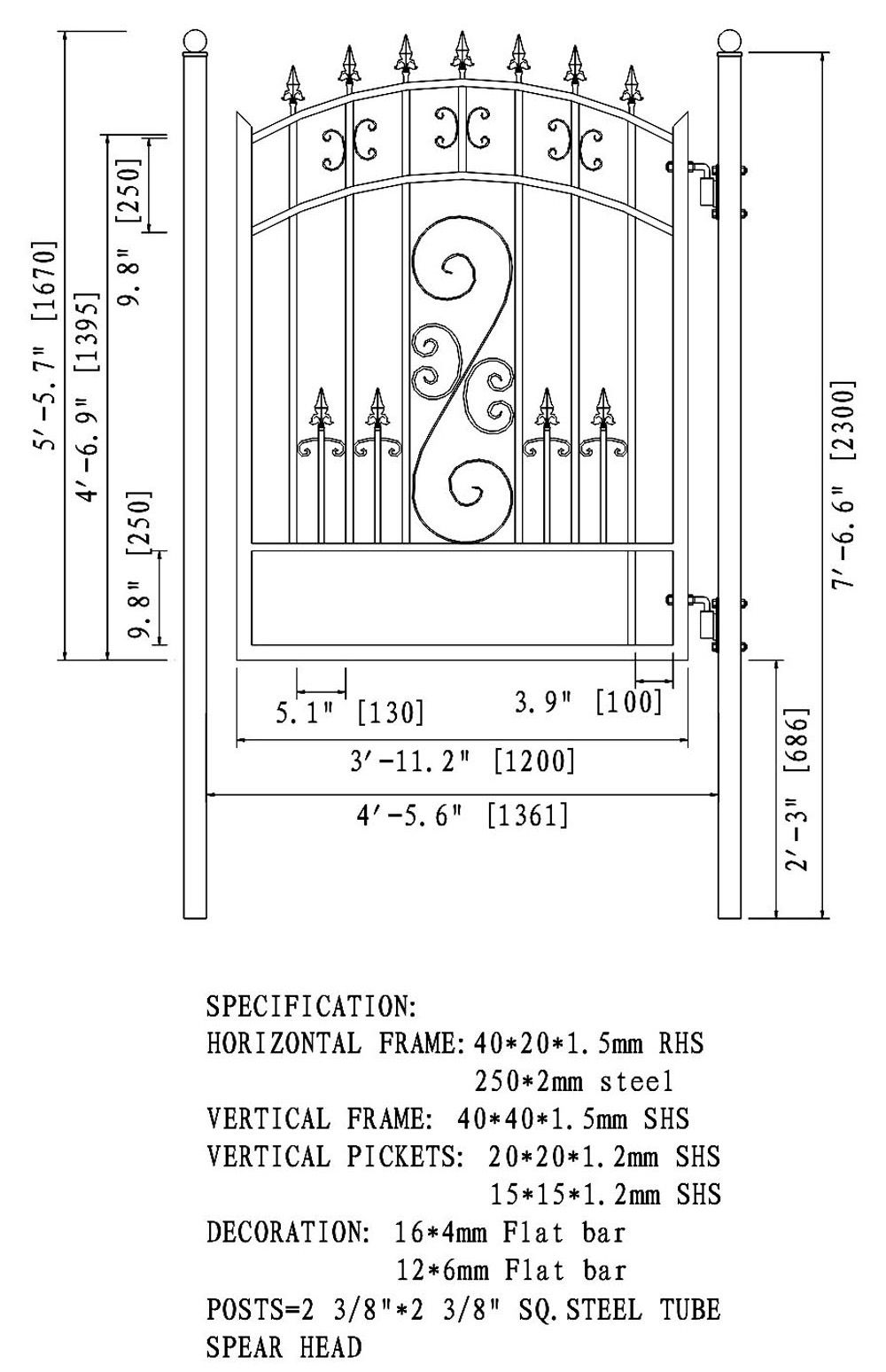 Steel Pedestrian Gate Venice Style 5 Ft Aleko Door Gate