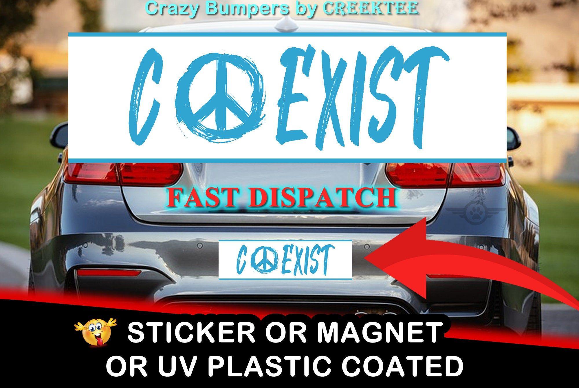 Uv Protected Coexist Blue Bumper Sticker 10 X 3 Etsy Magnetic Bumper Stickers Bumper Stickers Bumper Sticker Size [ 1339 x 2000 Pixel ]