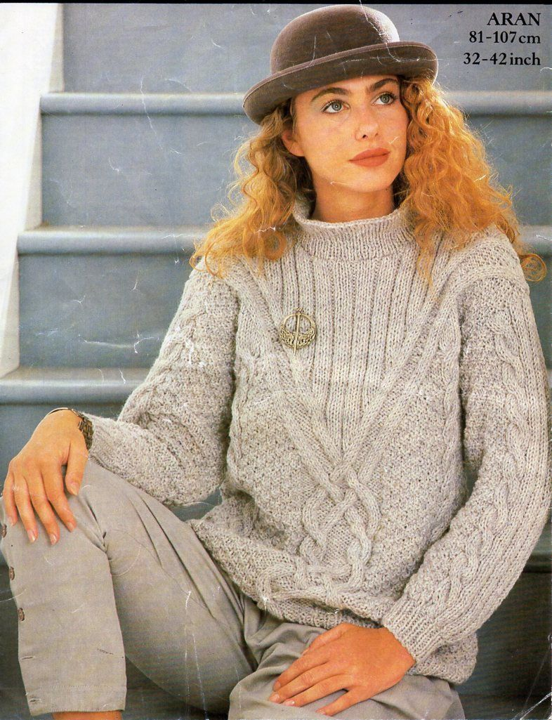 womens aran sweater knitting pattern pdf ladies cable jumper 32-42