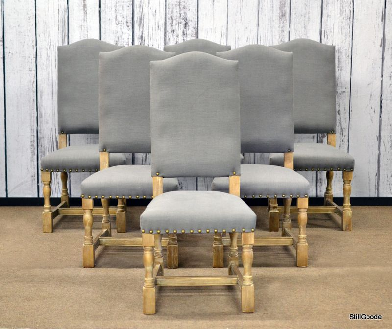 Set Of 6 Upholstered Dining Chairs With Grey Linen Upholstery Unique Upholstered Dining Room Chairs Inspiration