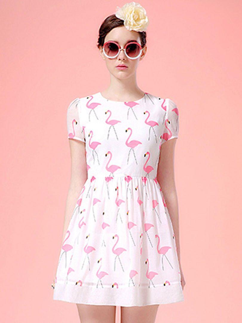 White Swan Print Short Sleeve Skater Dress from Midnight Bandit ...