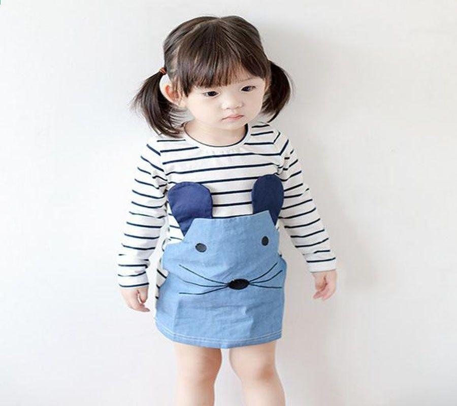 Дитячі дівчата одягаються літні мультфільми короткі рукави смугастий плаття повсякденний  одяг 7ce7b098a976e