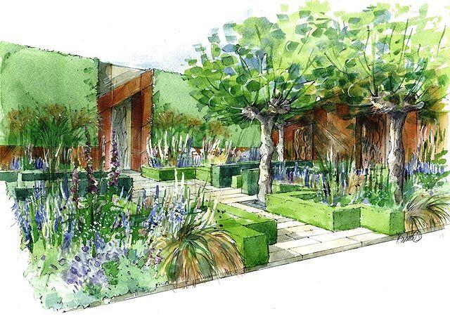 Chelsea Flower Show 2015 Designs For The Show Gardens Landscape Design Garden Illustration Landscape Design Drawings
