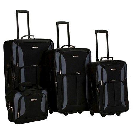 32395a3bd2 Rockland Journey 4pc Luggage Set - Black Grey   Target
