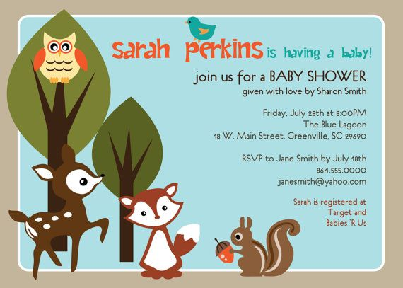 printable baby shower invitation woodland animals creatures forest unisex boy girl gender neutral deer owl squirrel fox diy digital