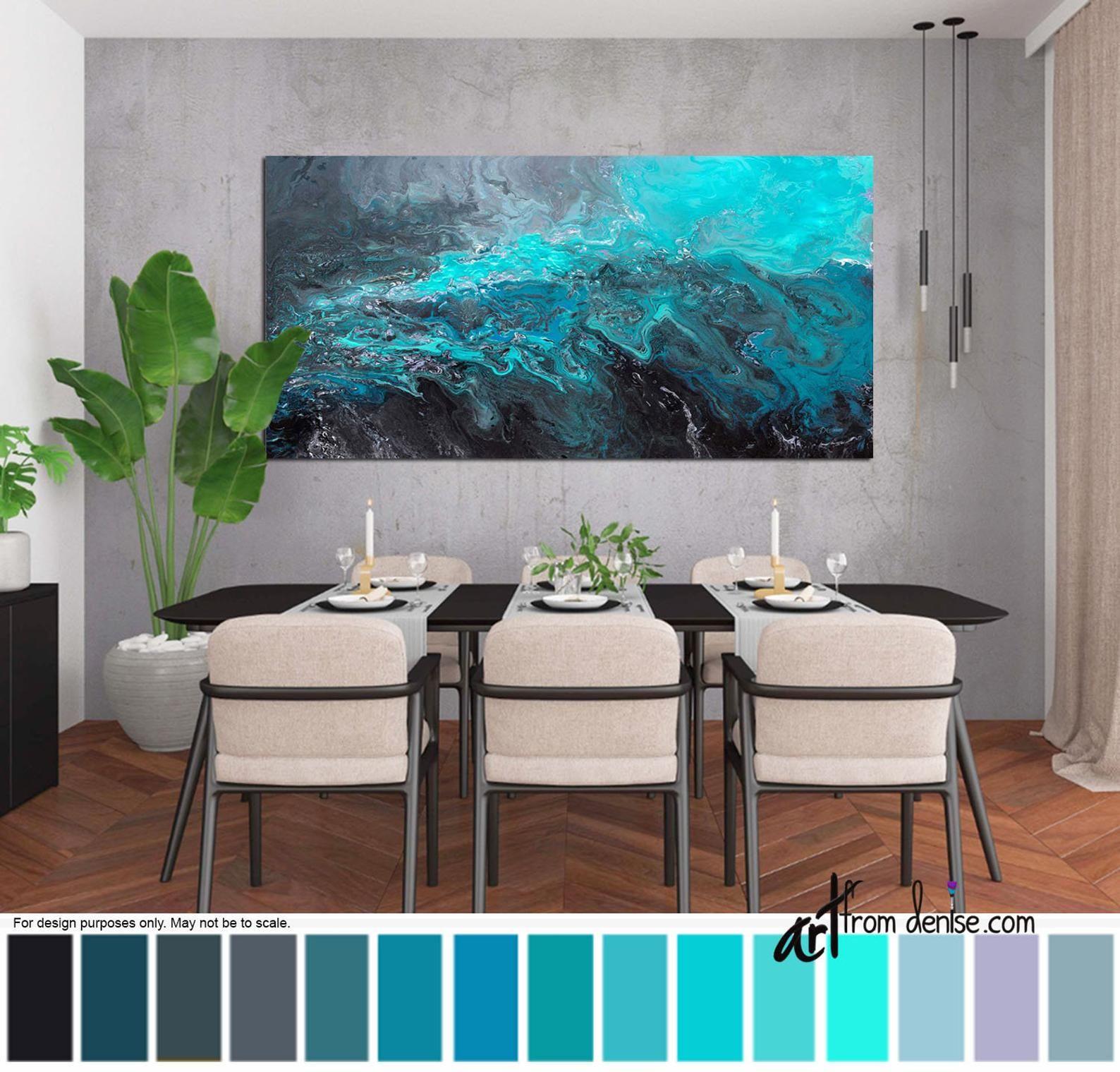 Blue black & gray abstract, Long horizontal canvas wall