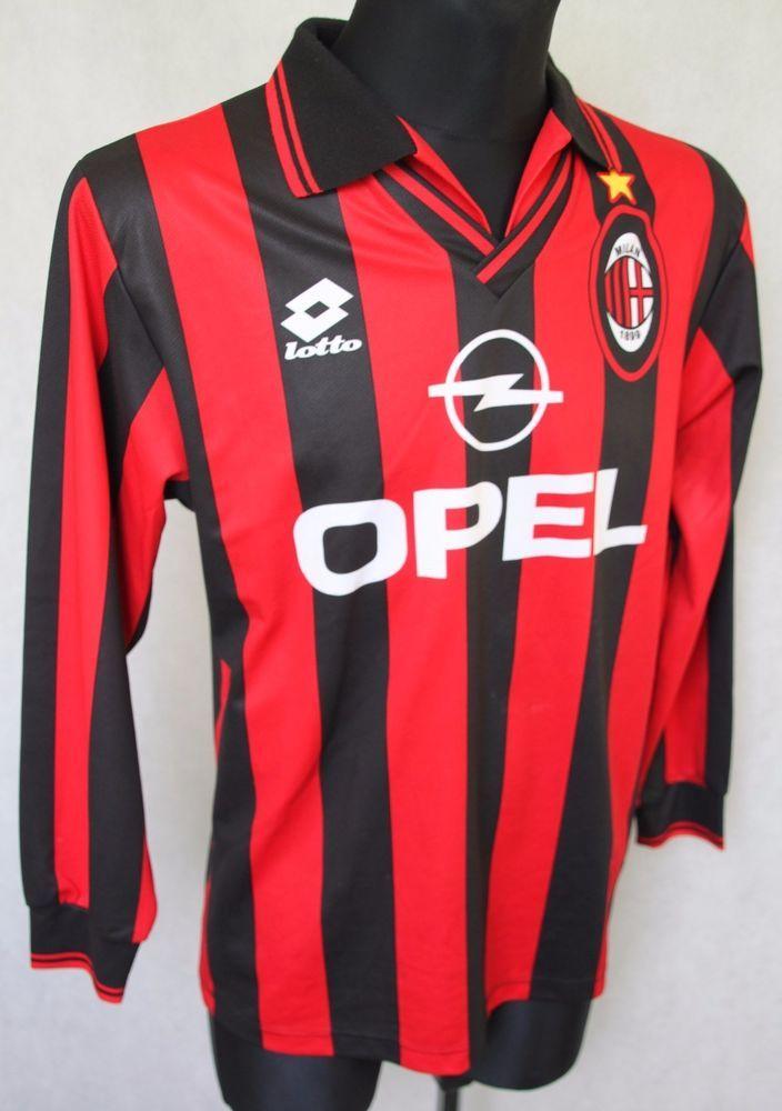 f61c6367b50 AC MILAN Lotto 1996/1997 Home Football Shirt Jersey Long Sleeve sz S (058)  #Lotto