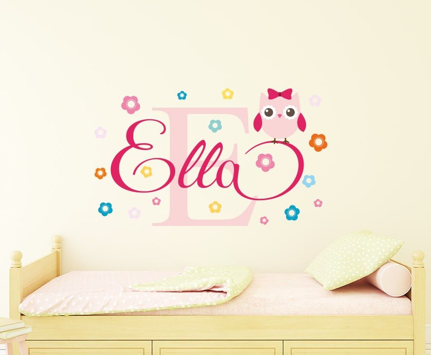 Personalised Flowery Owl Name Wall Decal Is Perfect For A Owl Themed Room!