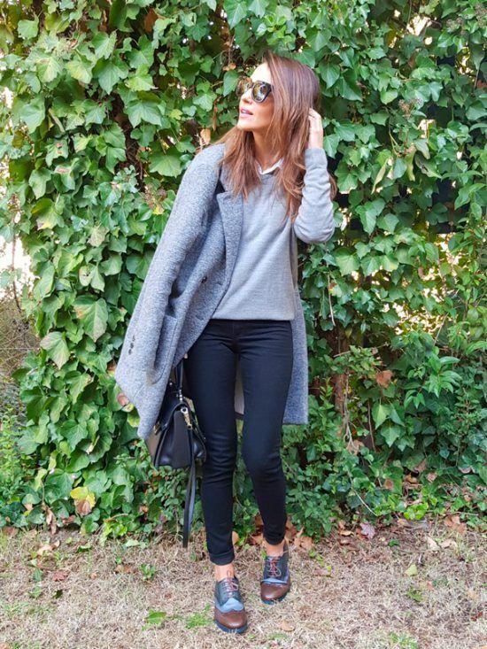Paula echevarria con abrigo gris