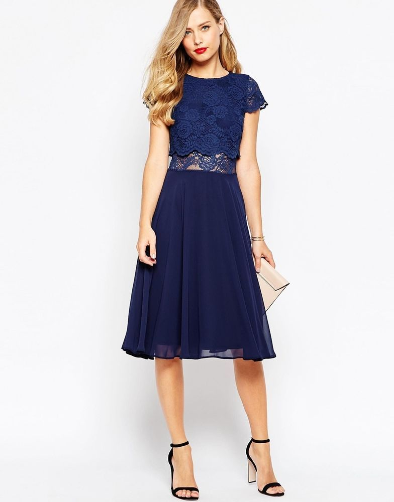 Navy blue lace dress asos