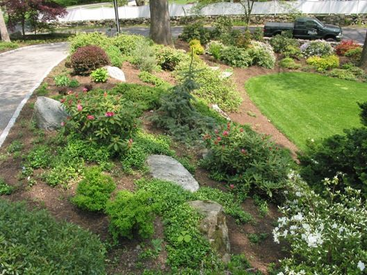 Simple | Front yard landscaping, Outdoor landscaping, Sloped ... on yard landscaping ideas, small yard ideas, backyard plans, rear yard landscape ideas, hill landscaping ideas, hill planting ideas, backyard designs, yard decorating ideas, backyard landscaping, landscape hill ideas,