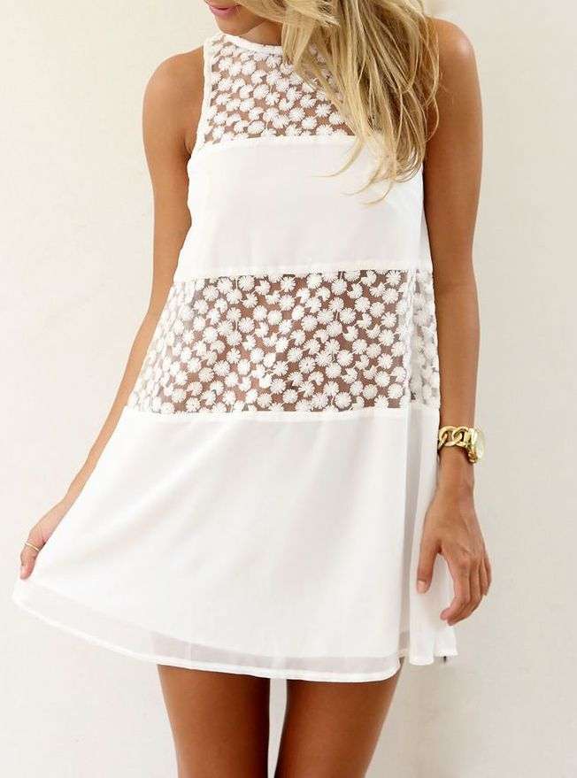 4eced17f715 White Sleeveless Sheer Lace Loose Dress 15.00