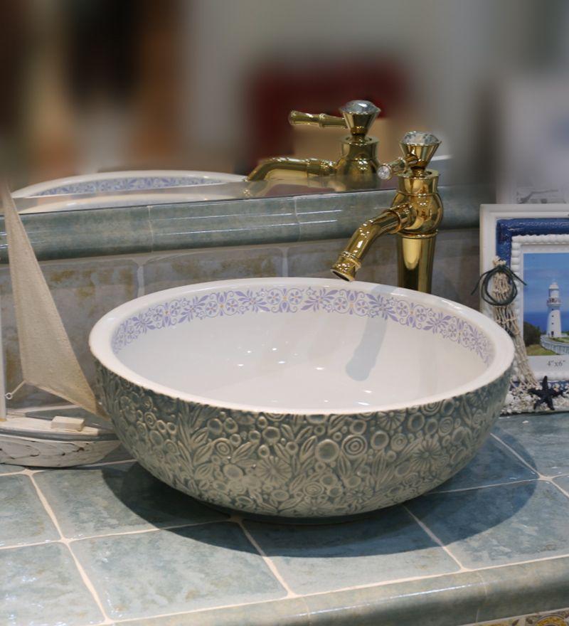 Europe Vintage Style Ceramic Art Basin Sinks Counter Top Wash Basin Bathroom Vessel Sinks