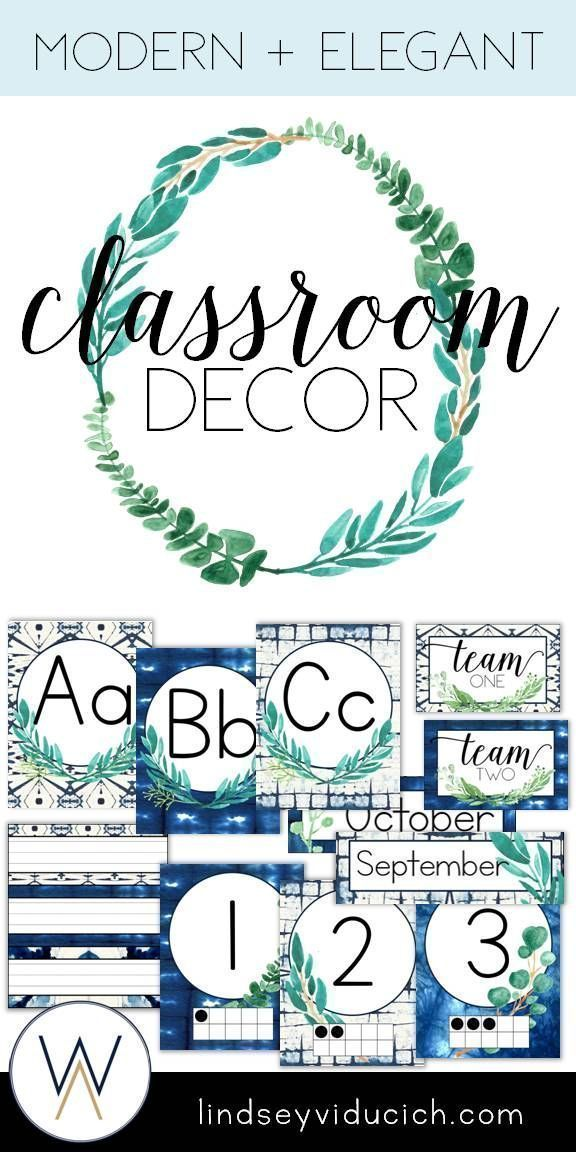 If you love shibori indigo dye and eucalyptus, you will LOVE this classroom decor packet. The neutral blues and greens will be perfect for your classroom, whether you teach elementary, middle, or high school. Click here to see how to make this packet a part of your classroom decor! #elementaryclassroomdecor