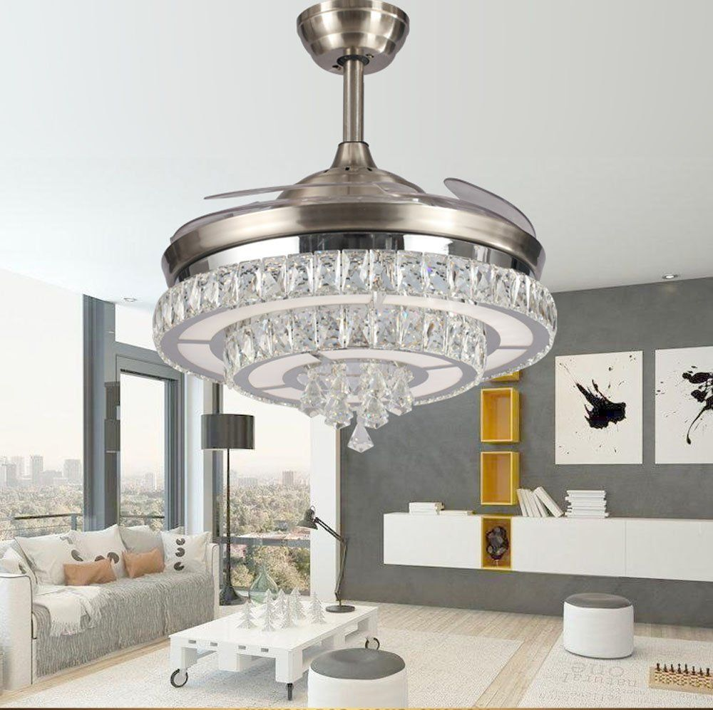 Huston Fan Modern Crystal Chandelier Ceiling Fan with Retractable Blade for Indoor Dining Room Bedroom Restaurant,3 Color Change-White Warm Neutral,LED Remote Ceiling Fan Light,3 Down Rod,42 Silver