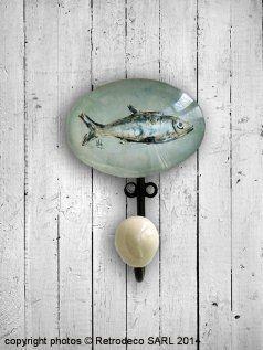 Patère sulfure poisson, déco bord de mer, Chehoma