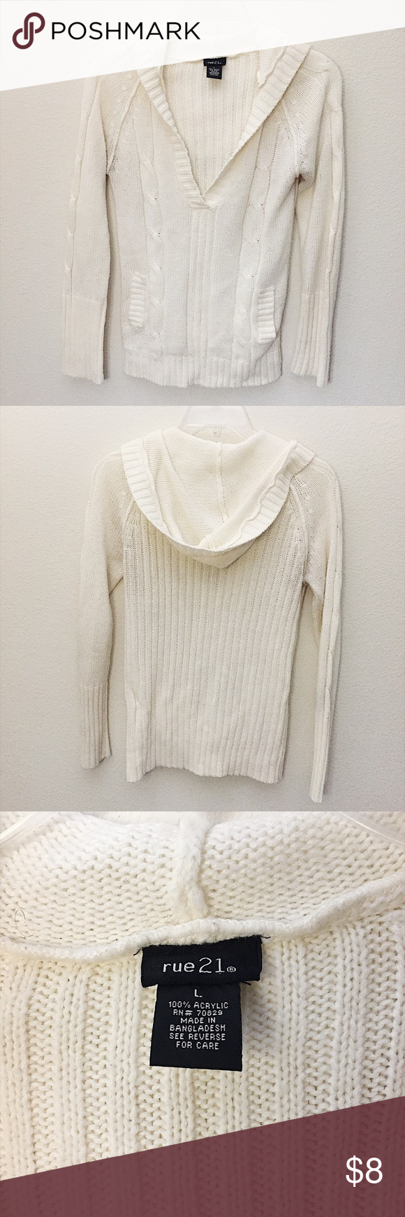 Rue 21 Hooded V-Neck Sweater Comfy and cozy! Great for casual wear ...