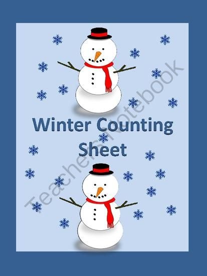 Winter Count and Write Counting Math Worksheet from My Kinder Garden ...