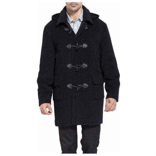 $169, Black Duffle Coat: BGSD Hooded Wool Blend Toggle Duffle Coat ...