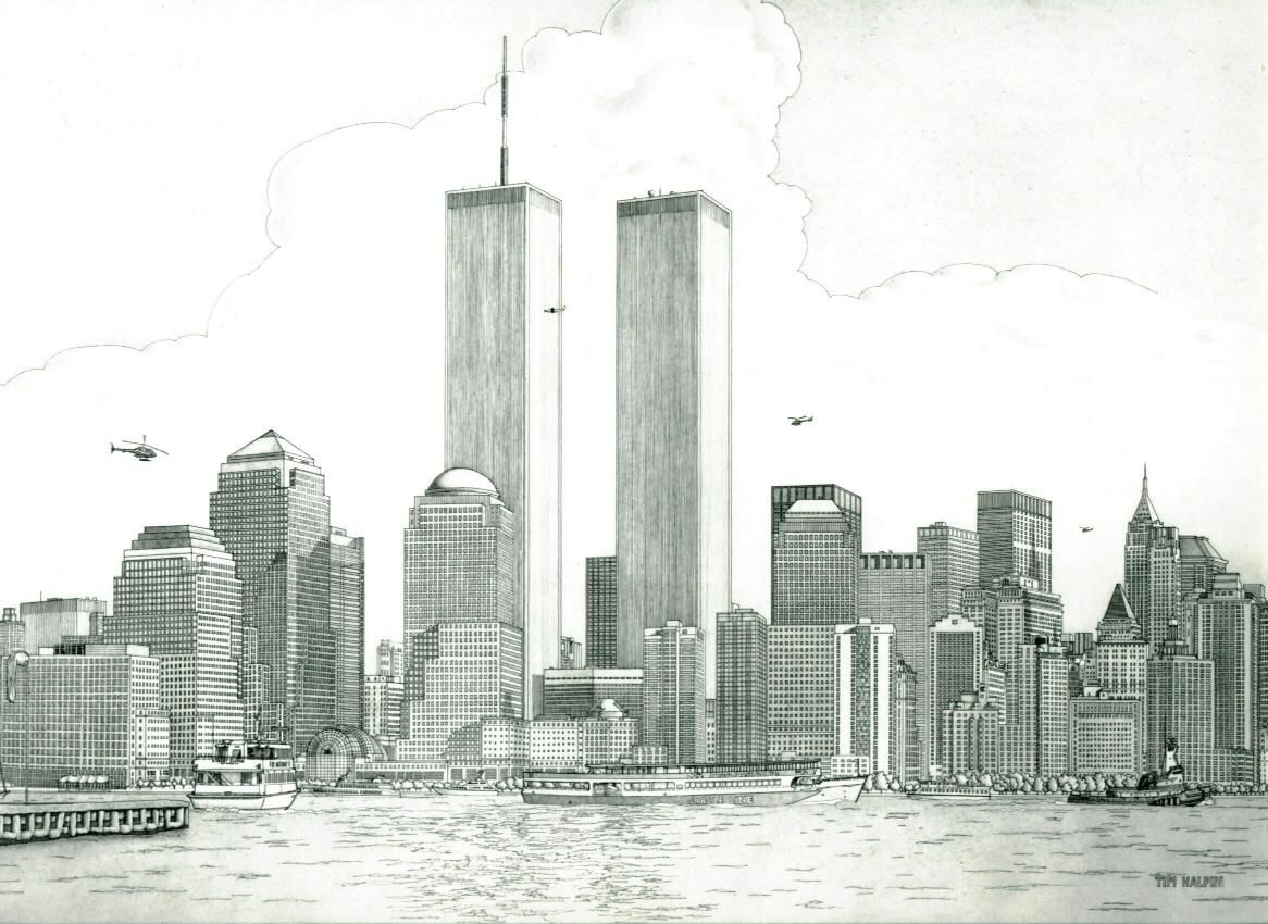 New York Skyline Drawing Click On Picture To See A Larger View