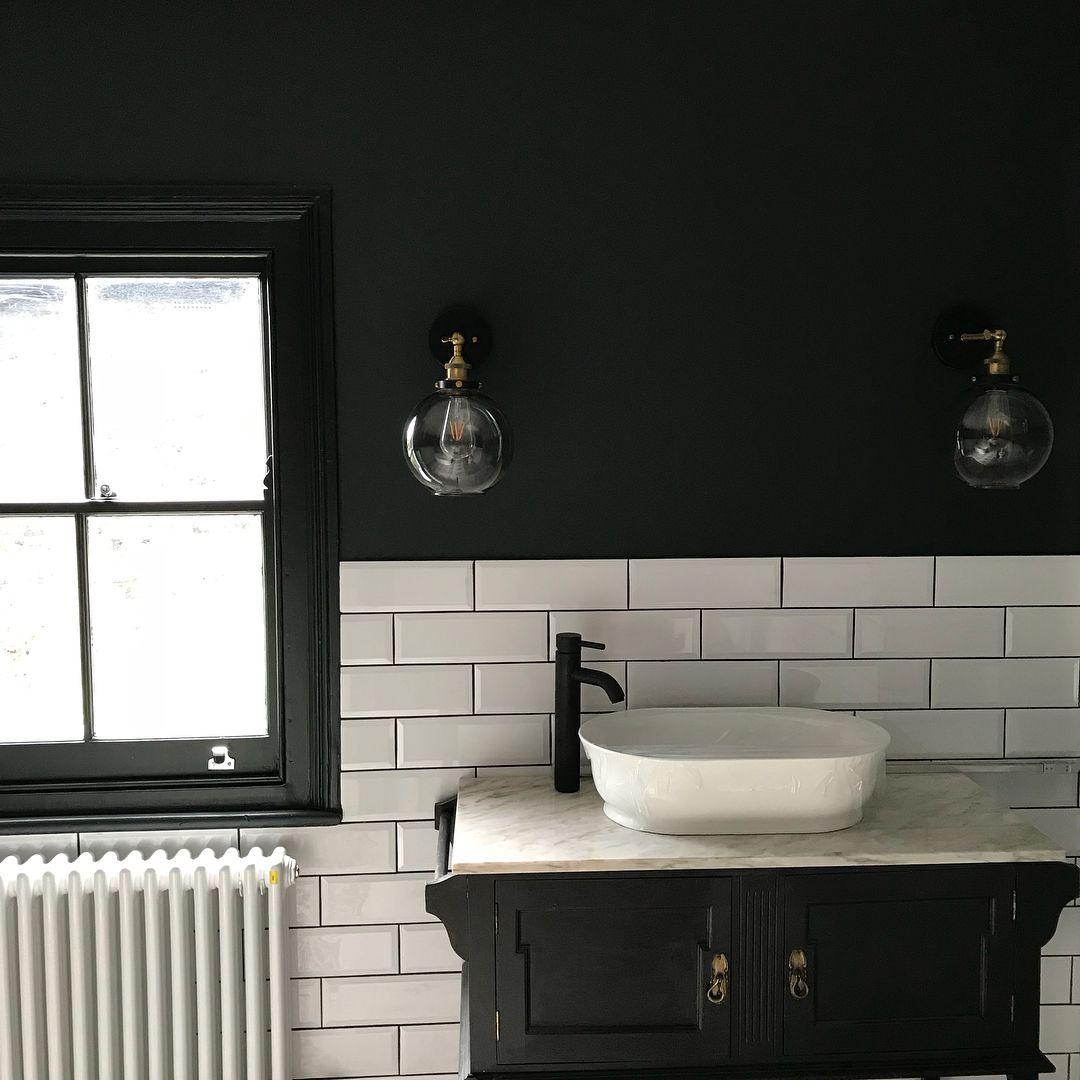 Black Bathroom Little Greene S Lamp Black Black Bathroom Black Lamps Black Cabinets Bathroom