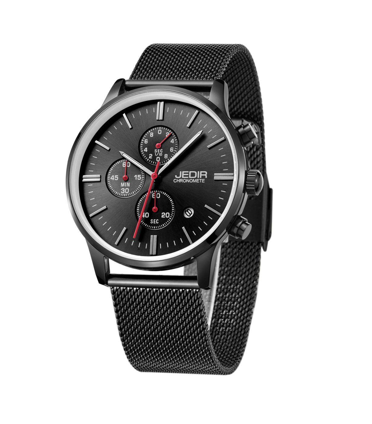 gute jedir milanese strap chronometer quartz wrist watch all black 11mm thin wr30m awesome. Black Bedroom Furniture Sets. Home Design Ideas
