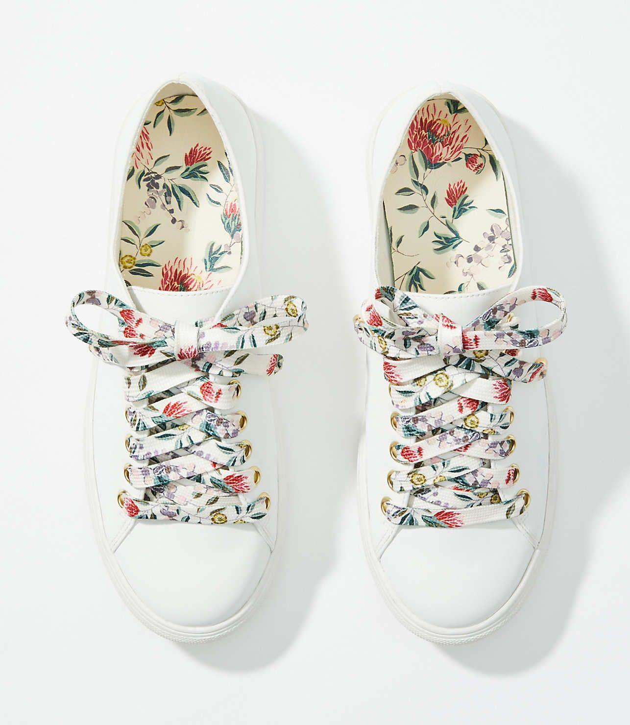 Floral Lace Up Sneakers | LOFT