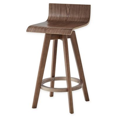 Verona Home Tracey 24 Wood Swivel Stools In Walnut Set Of 2 Modern Swivel Wood Counter Stools Mid Century Bar Stools