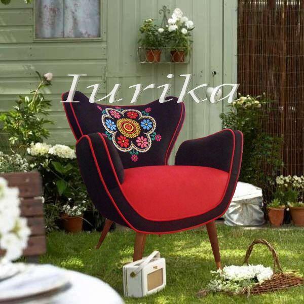 Silln estilo retro vintage Mariposa Bordado Daisy Sillones