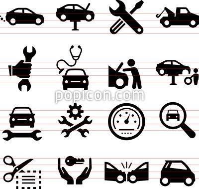 Car Repair Icons Black Series Cars Autos Vector Icon Sets