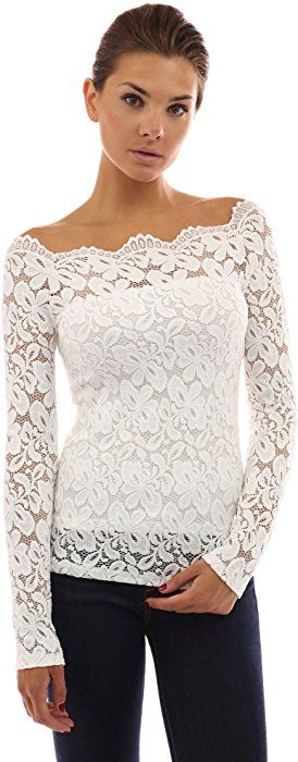 5aba33abe148a PattyBoutik Women s Floral Lace Off Shoulder Top (Off-White S) at Amazon  Women s