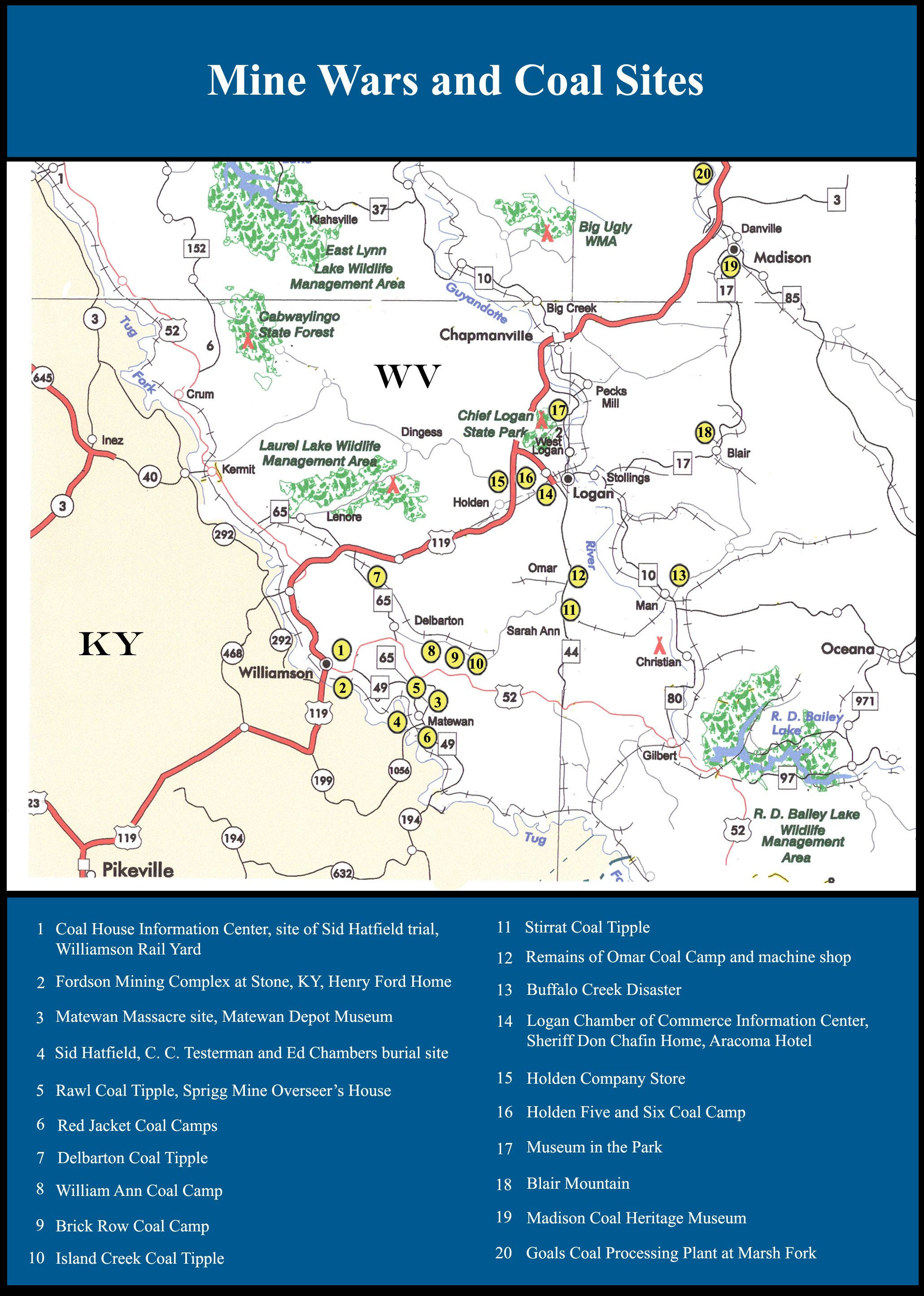 Hatfield And Mccoy Area Maps Area Map Laurel Lake Hatfields And Mccoys