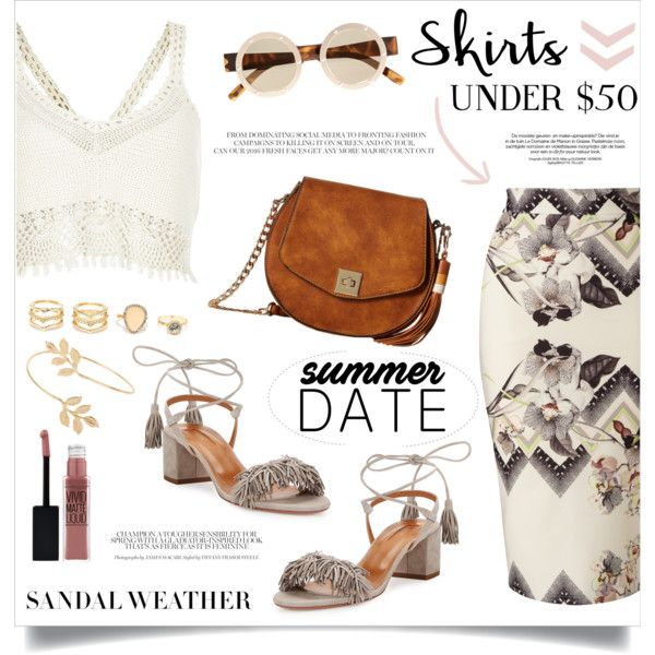 A fashion look from July 2016 by anchilly23 featuring River Island, Miss Selfridge, Aquazzura, Gabriella Rocha, LULUS, Le Specs and Maybelline