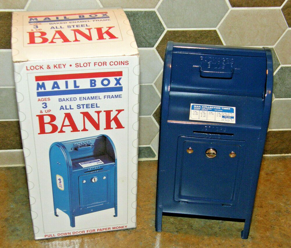 Vintage NOS Superior Toy All Steel Blue US MAIL Box Bank