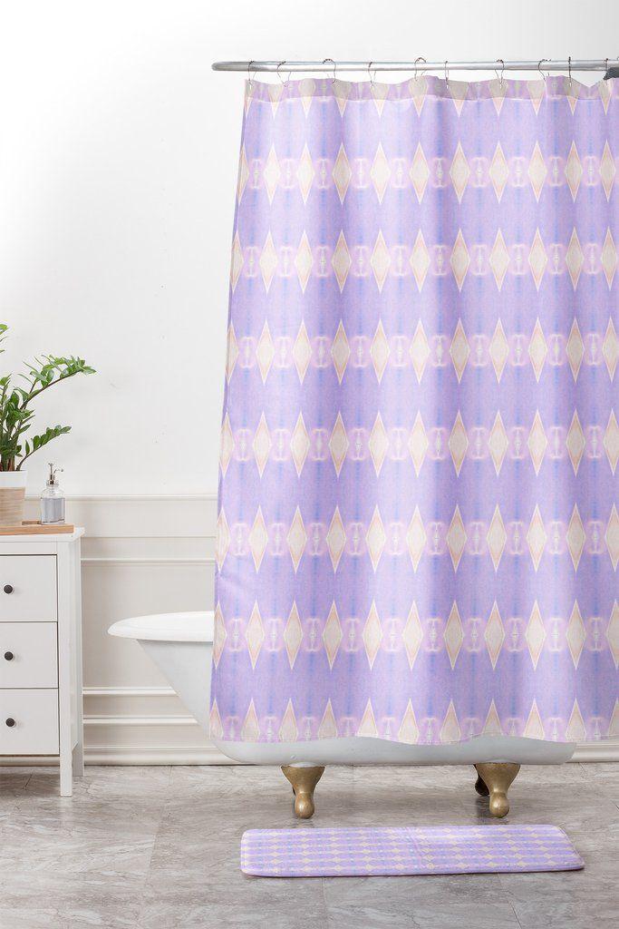 Amy Sia Art Deco Mini Triangle Light Purple Shower Curtain And Mat