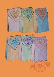 El Papercraft de la publicación: Valentine bolsas de regalo